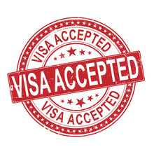 VISA ACCEPTED Red Round Stamp Text On White