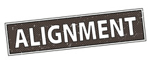 Alignment Sign. Round Ribbon Label Black Stamp