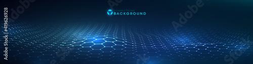 Network connection concept black background vector illustration.Futuristic honeycomb concept. 3d landscape. Big data digital background.