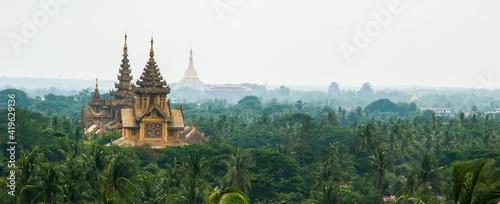 Canvas Landscape of Temples in Bago, Myanmar (Burma), Asia