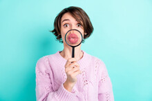 Photo Of Sweet Funny Young Woman Wear Violet Sweater Enlarging Loupe Pouted Lips Isolated Turquoise Color Background