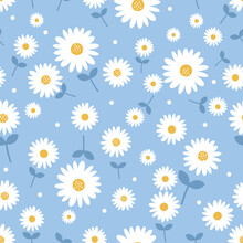 Seamless Pattern With Daisy Flower On Blue Background Vector Illustration.