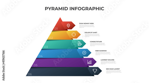 Fotografie, Obraz Pyramid infographic template vector with 6 list, options, levels diagram