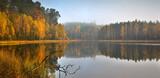 Piękne  mgliste  Leśne  Jesienne Jezioro