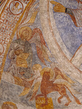 An Angel For Matthew And A Lion As The  Symbol Of Saint Mark A Romanesque Painting