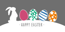 Happy Easter. Colorfull Easter Greeting Card With Eggs And Rabbit. Vector Illustration Great For Package Banner