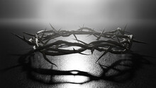 Crown Of Thorns Symbol Of Crucifixion Dark Backlight 3D Rendering