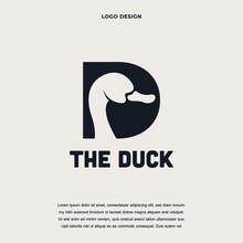Creative Duck With Letter D Icon Logo Design Color Editable Vector Illustration