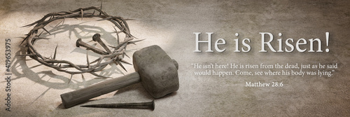 Canvas Print He is Risen, Jesus Christ Crown of Thorns Nails and Hammer Banner Design 3D Rend