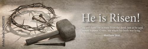 Fényképezés He is Risen, Jesus Christ Crown of Thorns Nails and Hammer Banner Design 3D Rend
