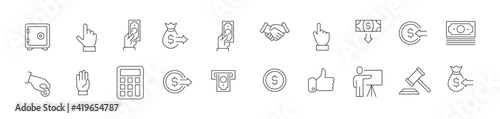 Photo Line stroke set of auction icons.
