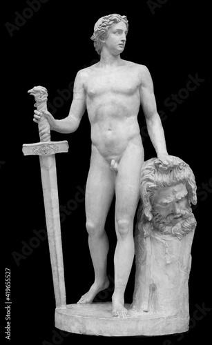 Canvas Print David and Goliath head ancient statue
