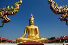 Golden Big Buddha Image Statue Of Wat Bang Chak Temple At Riverside Chao Phraya River Near Koh Kret Island For Thai People Trave Visit And Respect Praying At Pak Kret City In Nonthaburi, Thailand