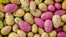 Multicolored, Easter Egg Background. Beautiful Yellow, Pink And Navy Eggs With Floral Patterns. 3D Render
