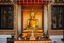 Buddha Meditation Attitude Statue Of Wat Paramaiyikawat Worawihan Temple On Koh Kret Island For Thai People And Foreign Travelers Travel Visit Respect Praying At Pak Kret City In Nonthaburi, Thailand