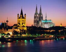 The Cathedral (Dom) And River Rhine, Cologne (Koln), North Rhine Westphalia, (Nordrhein-Westfalen)