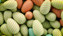 Multicolored, Easter Egg Background. Beautiful Green, Orange And Red Eggs With Polka Dot Patterns. 3D Render