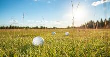 Golf Course Golf Ball On Green Grass