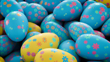 Multicolored, Easter Egg Background. Beautiful Blue, Yellow And Pink Eggs With Floral Patterns. 3D Render