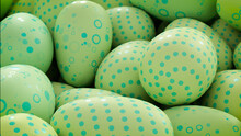 Multicolored, Easter Egg Background. Beautiful Green, And Aqua Eggs With Polka Dot, Circle And Ring Patterns. 3D Render