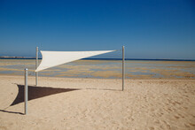White Beach Awning On The Red Sea And Blue Sky