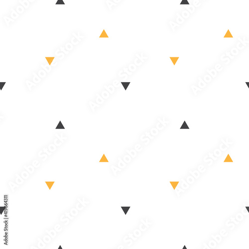 Abstract geometrical seamless scandinavian pattern. Vector triangle ornament with orange and black colors. Simple texture for nordic baby wallpaper, fills, web page background - fototapety na wymiar