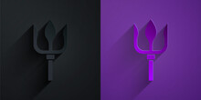 Paper Cut Neptune Trident Icon Isolated On Black On Purple Background. Paper Art Style. Vector.