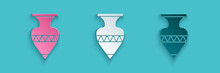 Paper Cut Ancient Amphorae Icon Isolated On Blue Background. Paper Art Style. Vector.