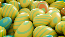 Multicolored, Easter Egg Background. Beautiful Yellow, Orange, Aqua And Green Eggs With Striped Patterns. 3D Render