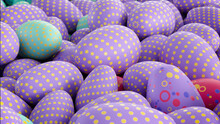 Multicolored, Easter Egg Background. Beautiful Purple, Aqua And Pink Eggs With Polka Dot And Spotted Patterns. 3D Render
