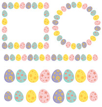 Easter Egg Frame And Divider Collection. Set Of Empty Holiday Borders In Pastel Colors. Vector Illustration Isolated On White Background. Contains Circle , Square,rectangle And Line Design.