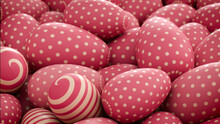 Multicolored, Easter Egg Background. Beautiful Pink, And Cream Eggs With Polka Dot, And Striped Patterns. 3D Render