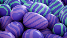Multicolored, Easter Egg Background. Beautiful Purple, Aqua And Violet Eggs With Striped Patterns. 3D Render