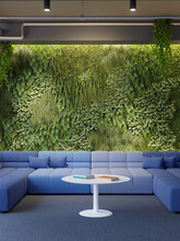 3d Render Of A Vertical Green Wall In Modern Office Building With Blue Sofas In Lounge Area