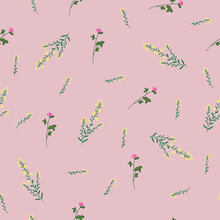 Wild Flower Clover And Gorse Seamless Repeating Pattern With Lemonade Pink Background. Vector Illustration