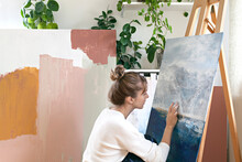 Woman Painting Abstract Painting