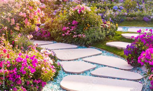 Fotografía path leading through a garden