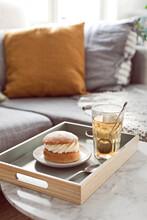 Brick On Marble Table With Swedish Dessert Semla