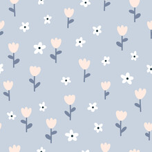 Floral Seamless Vector Pattern With Small Flowers. Simple Hand-drawn Style. Motifs Scattered Liberty. Pretty Ditsy For Fabric, Textile, Wallpaper. Digital Paper In Pastel Palette.