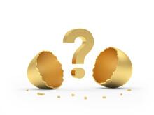 Golden Broken Egg With A Question Mark. 3d Illustration