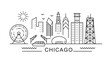 Chicago minimal style City Outline Skyline with Typographic. Vector cityscape with famous landmarks. Illustration for prints on bags, posters, cards.