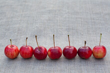 Seven Red Apples On Cloth