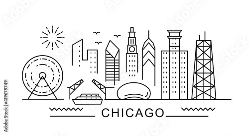 Photo Chicago minimal style City Outline Skyline with Typographic