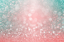 Fancy Teal Green Confetti, Coral Pink Glitter And Pastel Colors Sparkle Turquoise Background For Spring Or Christmas