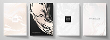 Modern Rose Gold, White Cover Design Set. Creative Fashionable Background With Abstract Marble Texture, Crack. Luxury Trendy Vector Collection For Catalog, Brochure Template, Magazine Layout, Booklet
