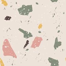 Vector Terrazzo Seamless Pattern. Craquelure Mosaic Geometric Texture To Simulate Granite.