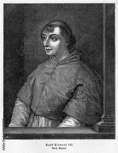 Canvas Pope Clement VII, born Giulio de' Medici,was pope in hard times with the Protest