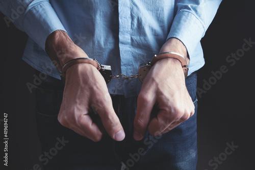 men handcuffed in criminal concept Fotobehang