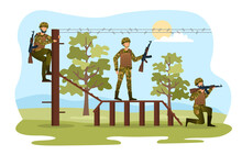 Three Male Characters Are Training For Soldiers Together. Men In Camouflage Are Overcoming Obstacles To Become Stronger. Concept Of Military Training. Flat Cartoon Vector Illustration