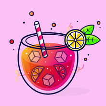 Illustration Of A Glass Of Pink Cocktail With Lemon And Ice
